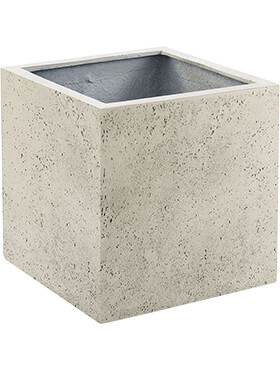 Кашпо Grigio cube antique white-concrete