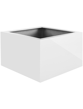 Кашпо Argento low cube shiny white
