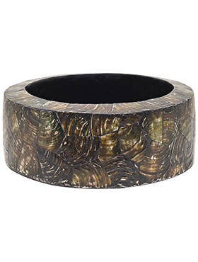 КАШПО OCEANA CRACKED PEARL TABLE PLANTER CYLINDER BLACK BROWN