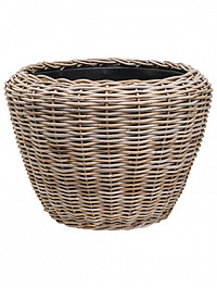 Кашпо Drypot rattan round grey outdoor