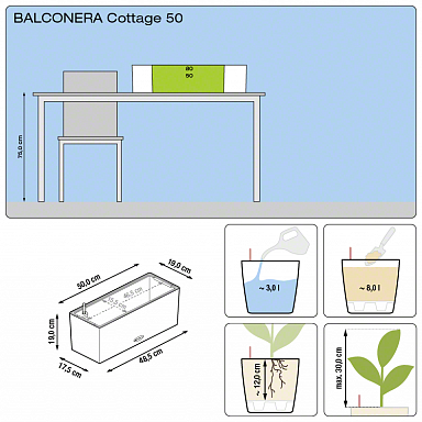 Кашпо Lechuza Balconera Cottage 50 (белый)